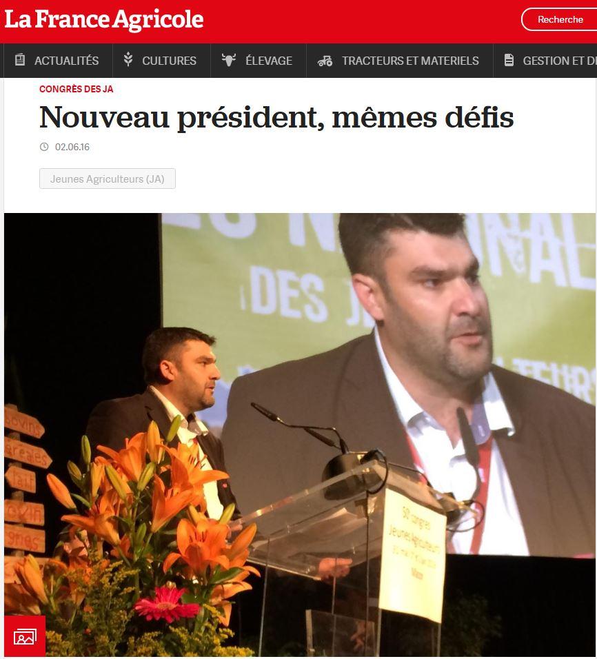 Jérémy ITW France Agricole Juin 2016