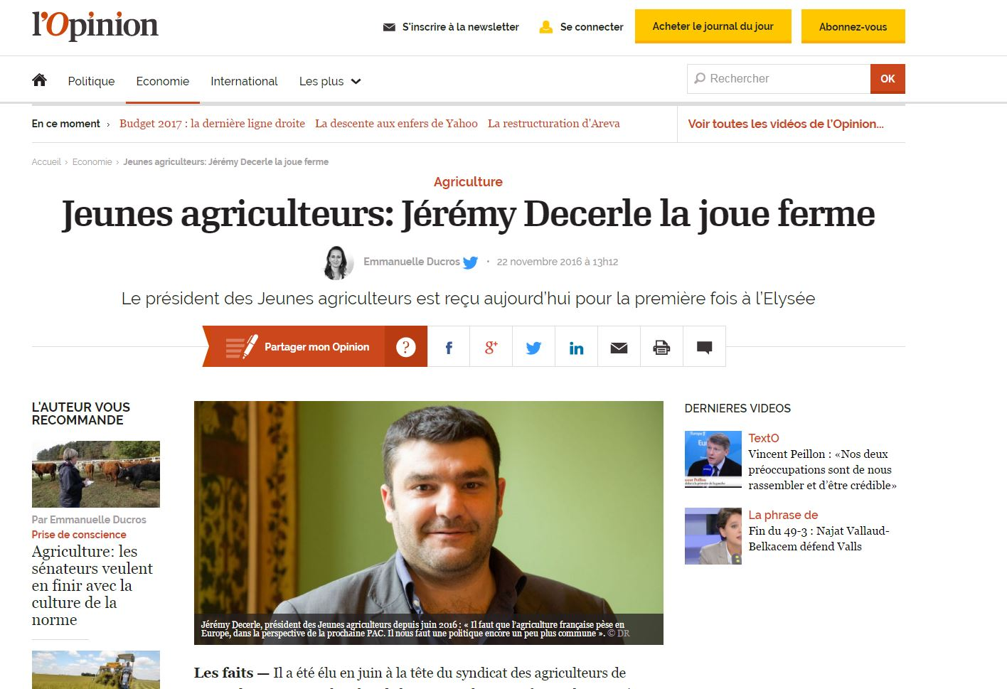 Itw l'Opinion Jeremy Decerle
