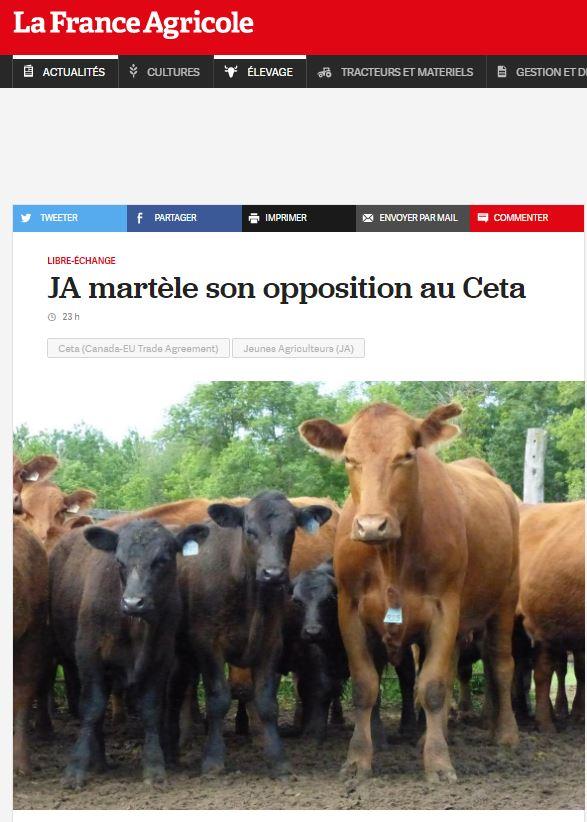 FA / Position JA CETA