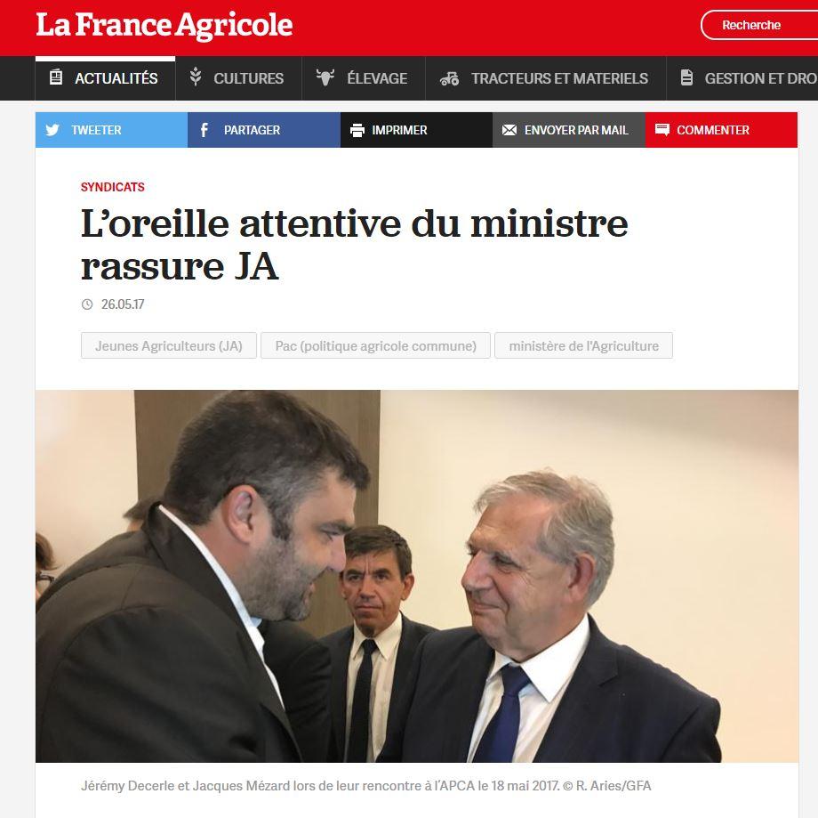 France Agricole : rencontre JD & J. Mézard
