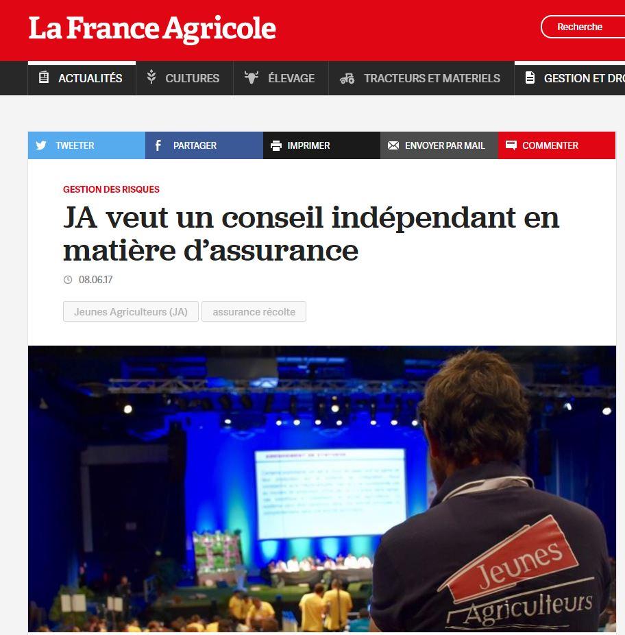 France Agricole JA veut un conseil indépendant en matière d'assurance