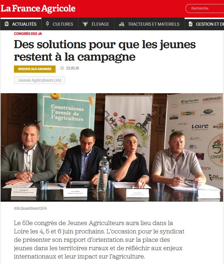 Congrès – conférence de presse Paris / La France Agricole
