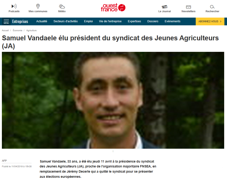 Election Samuel Vandaele / ouest-france