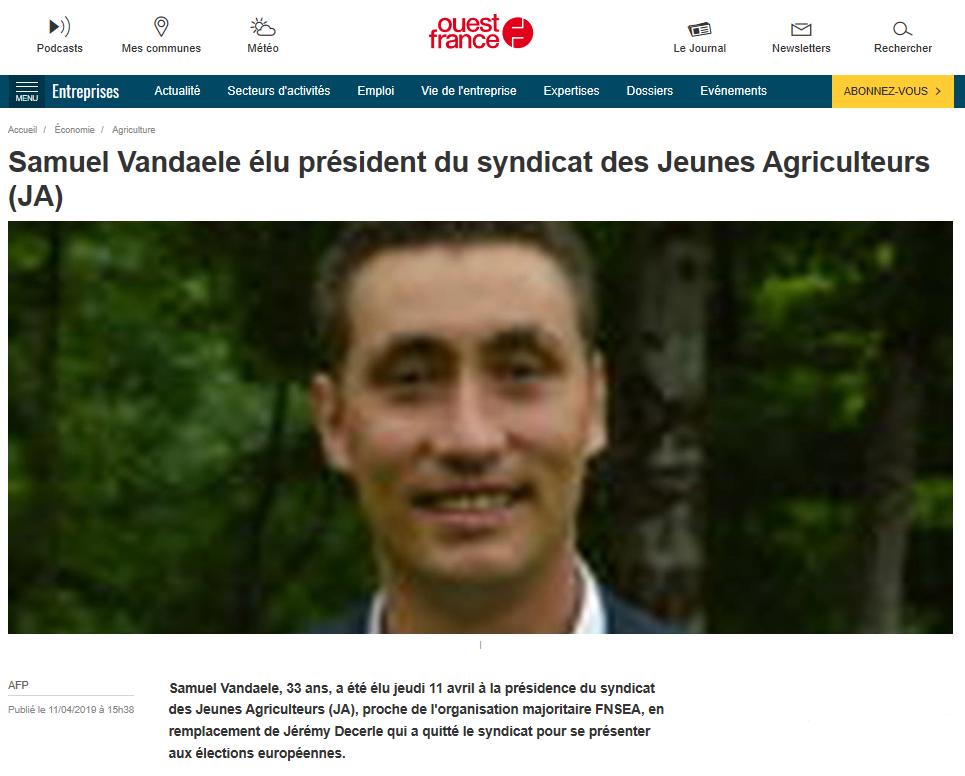 Election Samuel Vandaele / ouest-france