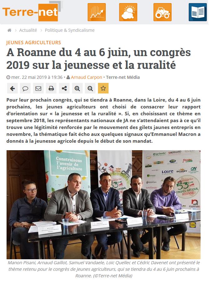 Congrès – conférence de presse Paris / Terre-net