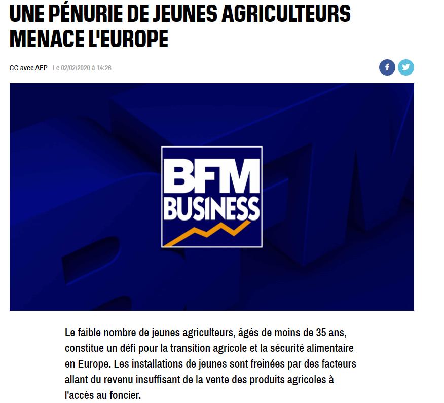 BFM TV : UNE PÉNURIE DE JEUNES AGRICULTEURS MENACE L'EUROPE