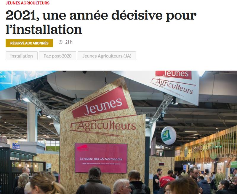 La France Agricole – 2021, une année décisive pour l'installation
