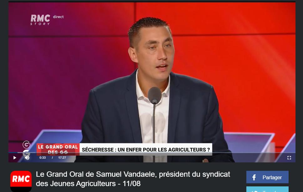 RMC : Le Grand Oral de Samuel Vandaele, président du syndicat des Jeunes Agriculteurs
