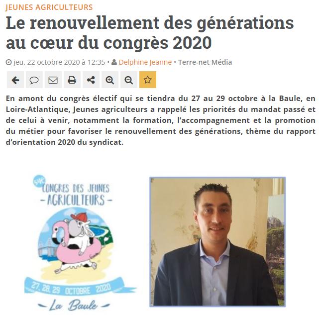 Terre-Net : Le renouvellement des générations au cœur du congrès 2020