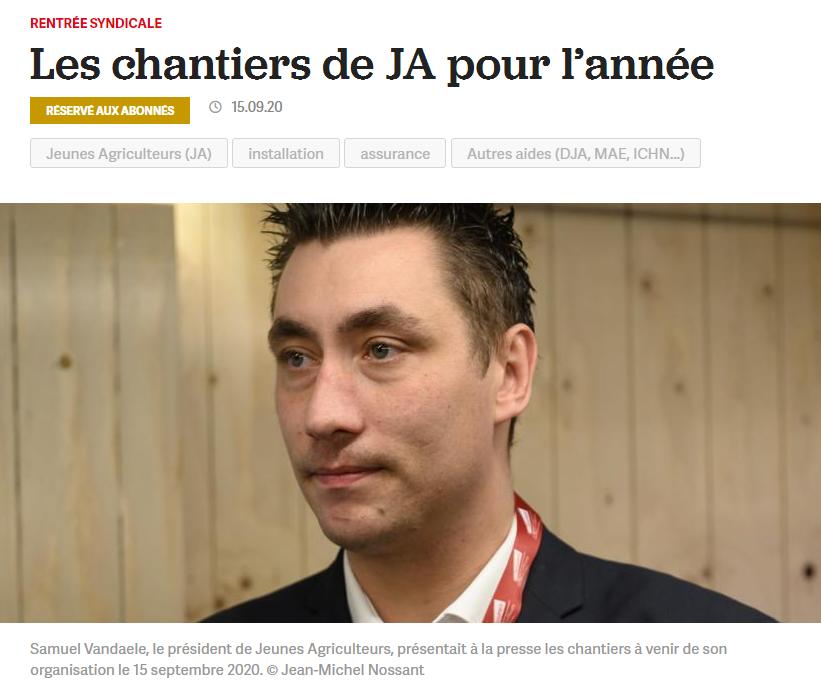 La France Agricole : Les chantiers de JA pour l'année
