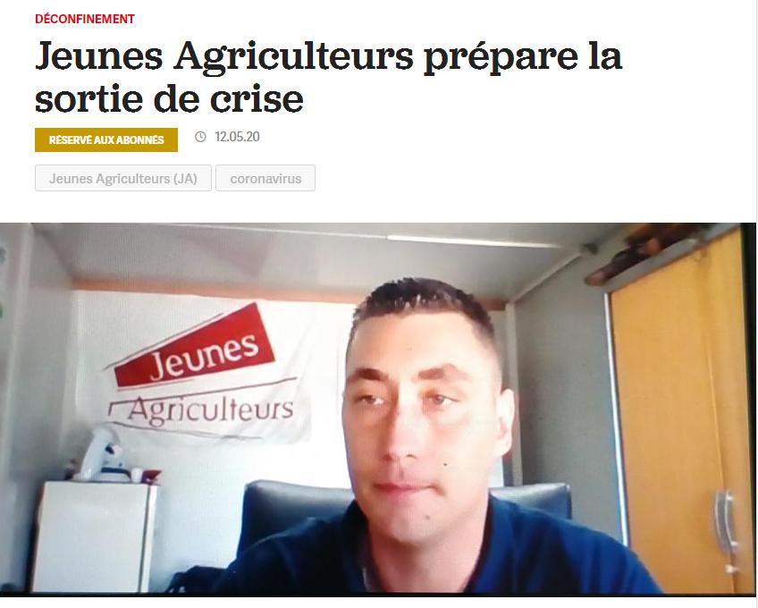 La France Agricole – Jeunes Agriculteurs prépare la sortie de crise